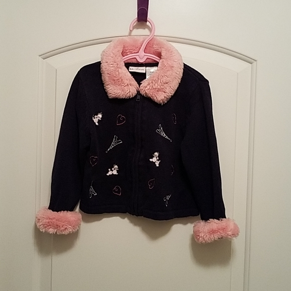 b.t. kids Other - *5 For $20* b.t. kids Pink Fur & Navy Blue Sweater